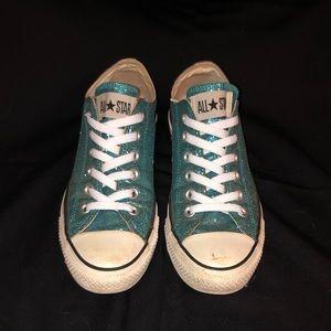 Light blue sparkly Converse - size 8